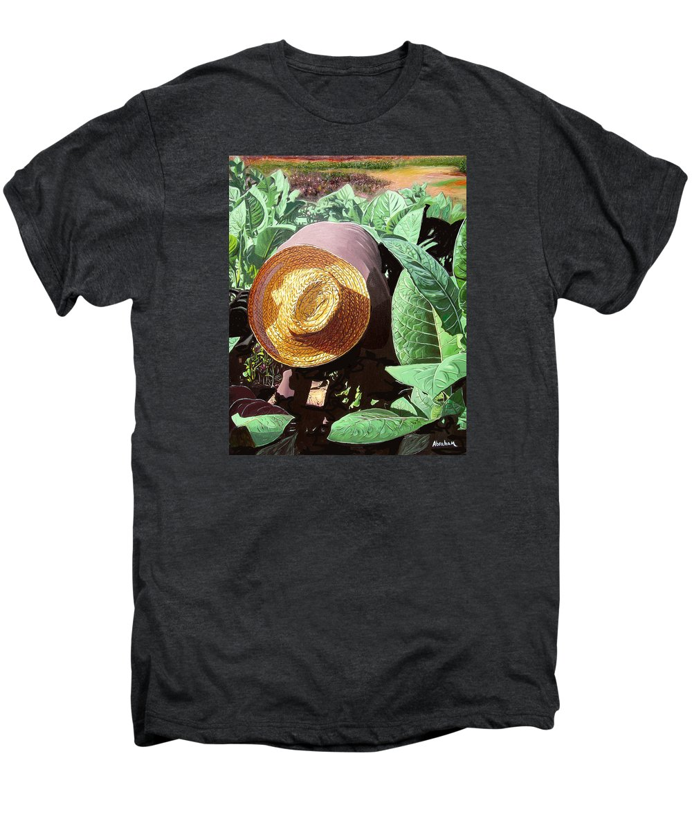 Tobacco Men's Premium T-Shirt featuring the painting Tobacco Picker by Jose Manuel Abraham