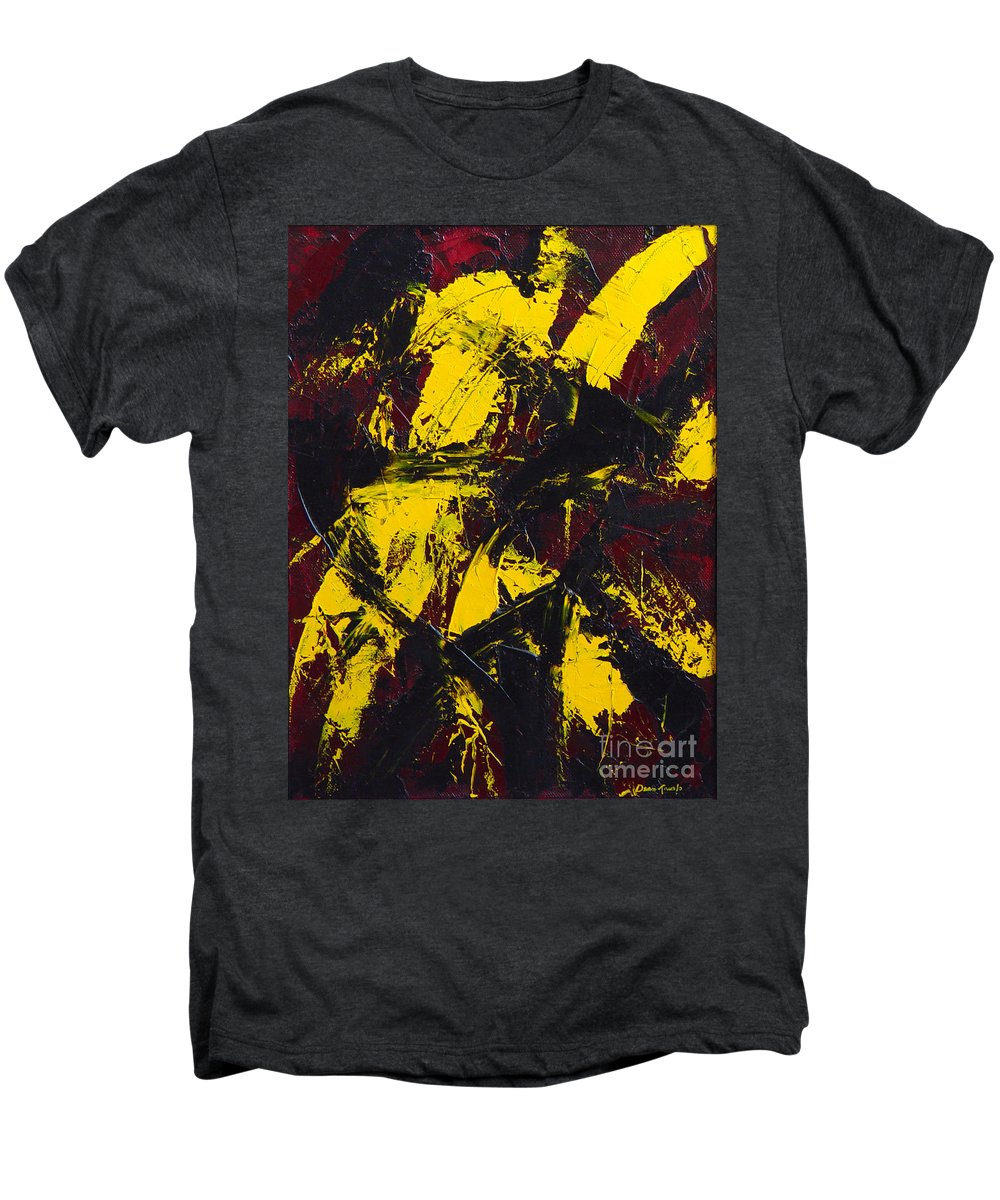 Abstract Men's Premium T-Shirt featuring the painting Transitions With Yelllow And Black by Dean Triolo