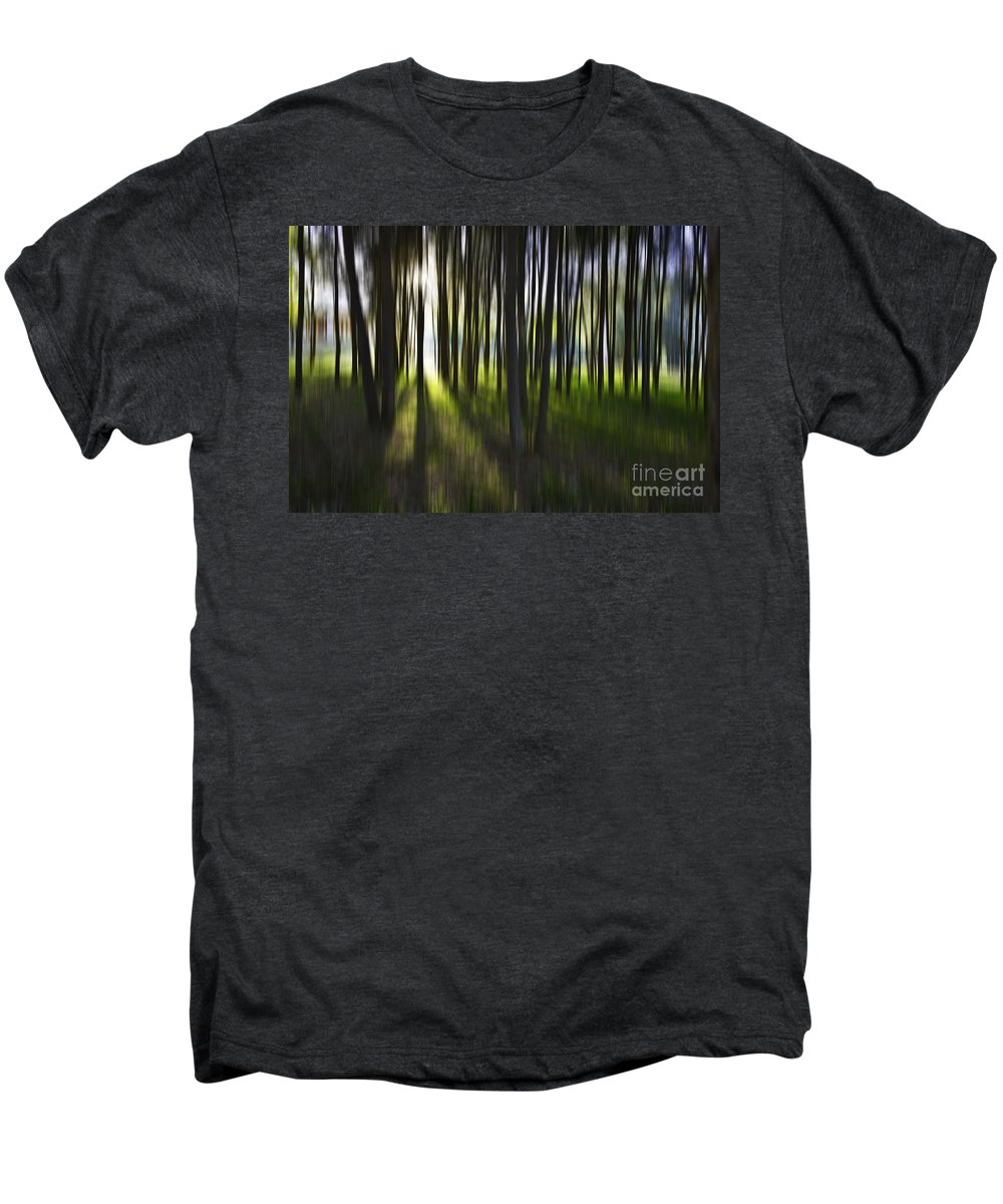 Trees Abstract Tree Lines Forest Wood Men's Premium T-Shirt featuring the photograph Tree Abstract by Sheila Smart Fine Art Photography