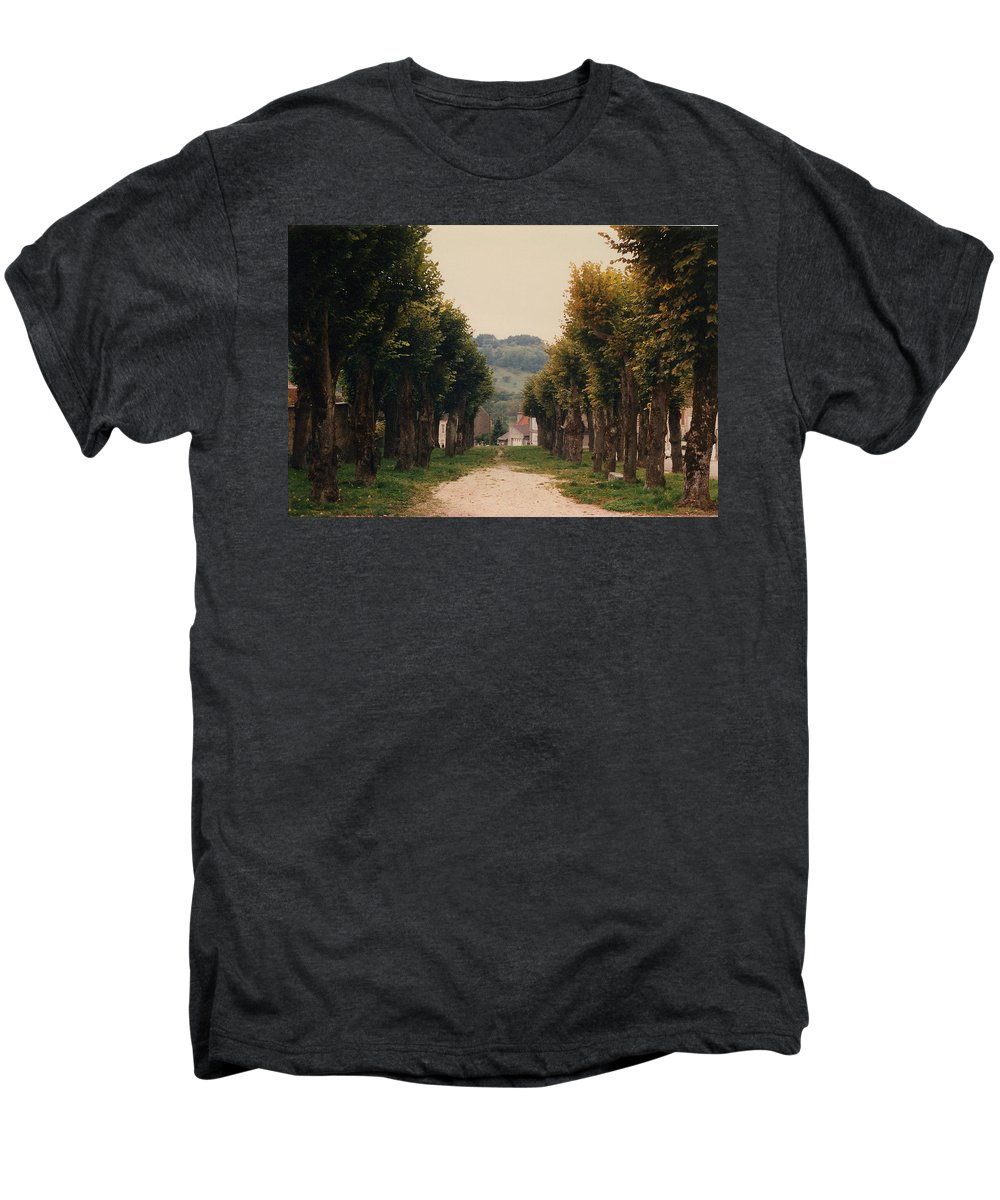 Trees Men's Premium T-Shirt featuring the photograph Tree Lined Pathway In Lyon France by Nancy Mueller