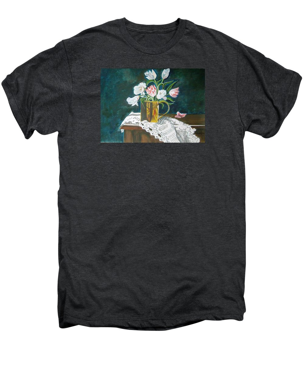 Tulips Men's Premium T-Shirt featuring the painting Tulips by Manjiri Kanvinde