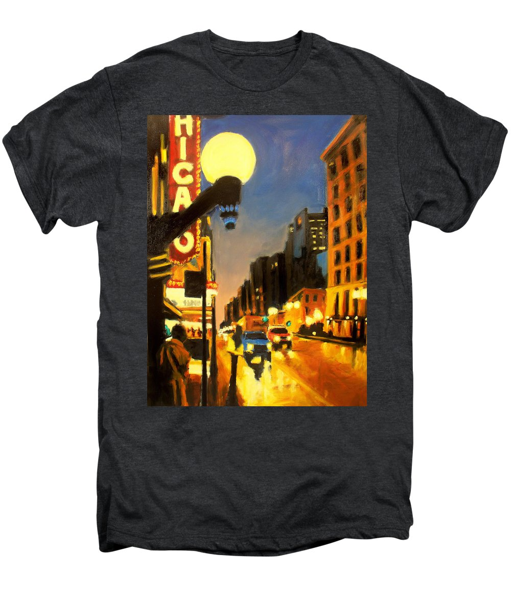 Rob Reeves Men's Premium T-Shirt featuring the painting Twilight In Chicago - The Watcher by Robert Reeves