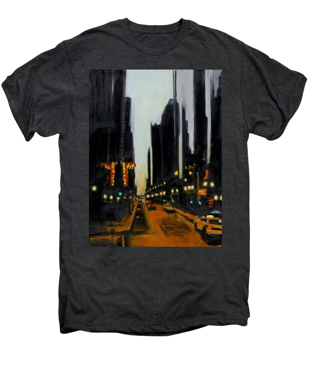 Rob Reeves Men's Premium T-Shirt featuring the painting Twilight In Chicago by Robert Reeves
