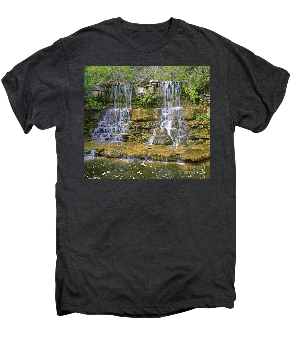 Waterfalls Men's Premium T-Shirt featuring the photograph Twin Falls by Robert Pearson