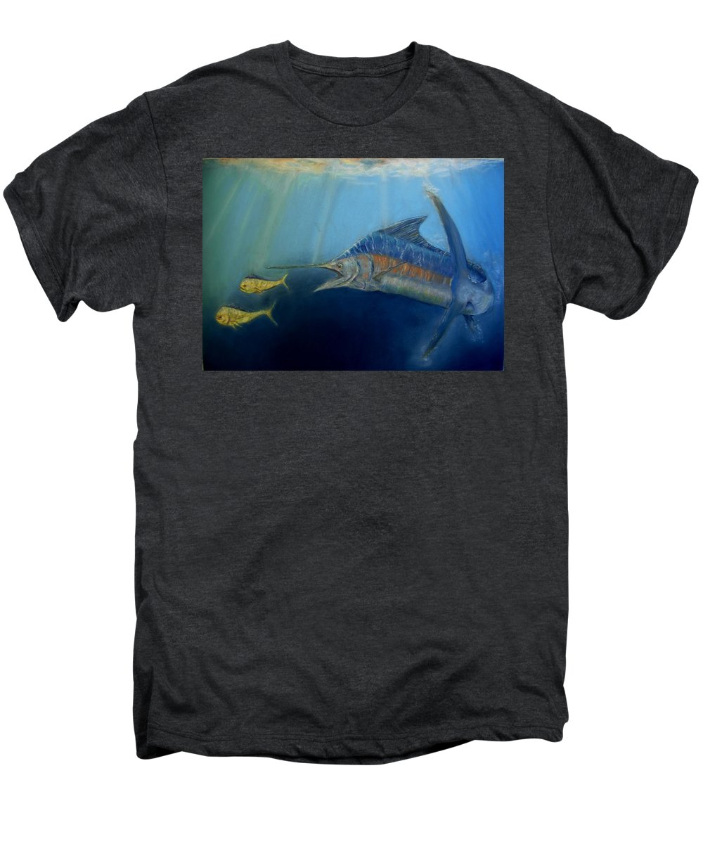 Marine Wildlife Men's Premium T-Shirt featuring the pastel Two For Lunch by Ceci Watson