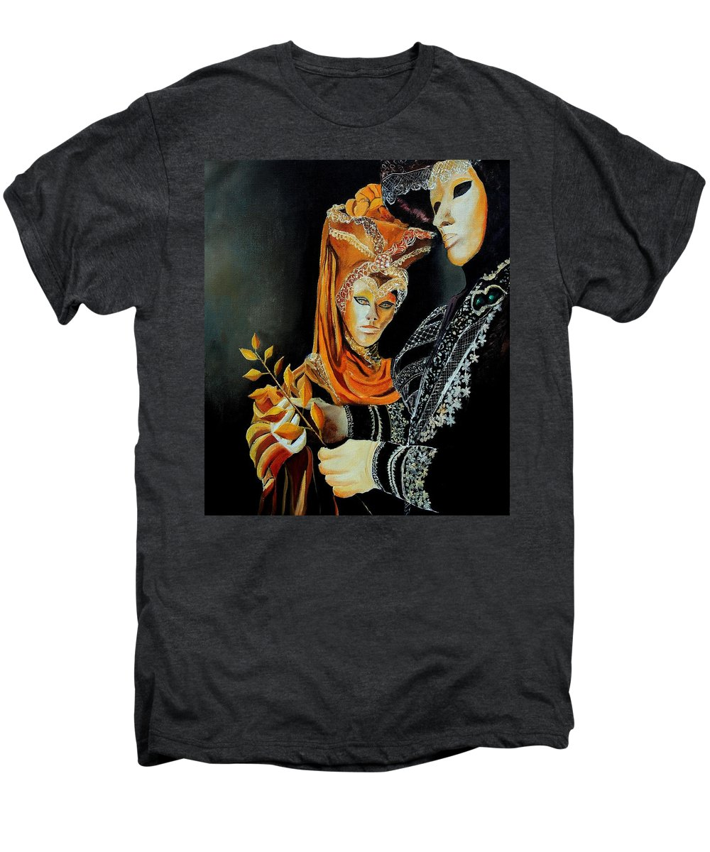 Mask Venice Carnavail Italy Men's Premium T-Shirt featuring the painting Two Masks In Venice by Pol Ledent