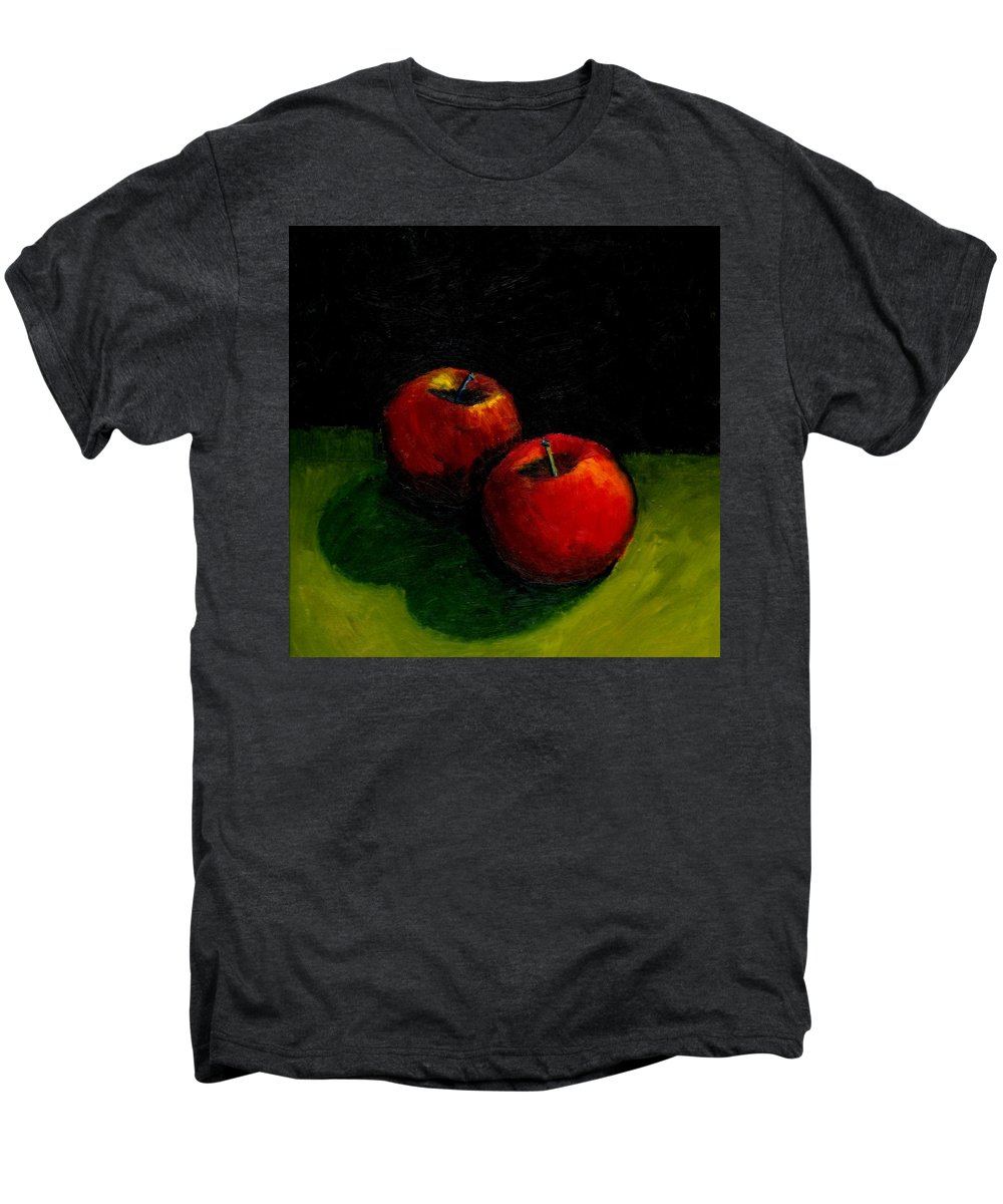 Red Men's Premium T-Shirt featuring the painting Two Red Apples Still Life by Michelle Calkins