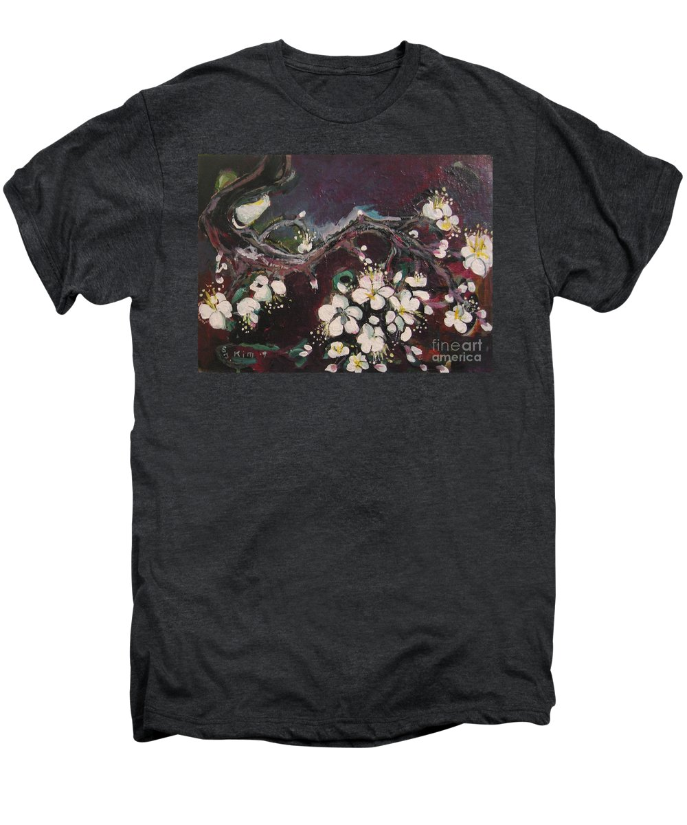 Ume Blossoms Paintings Men's Premium T-Shirt featuring the painting Ume Blossoms by Seon-Jeong Kim