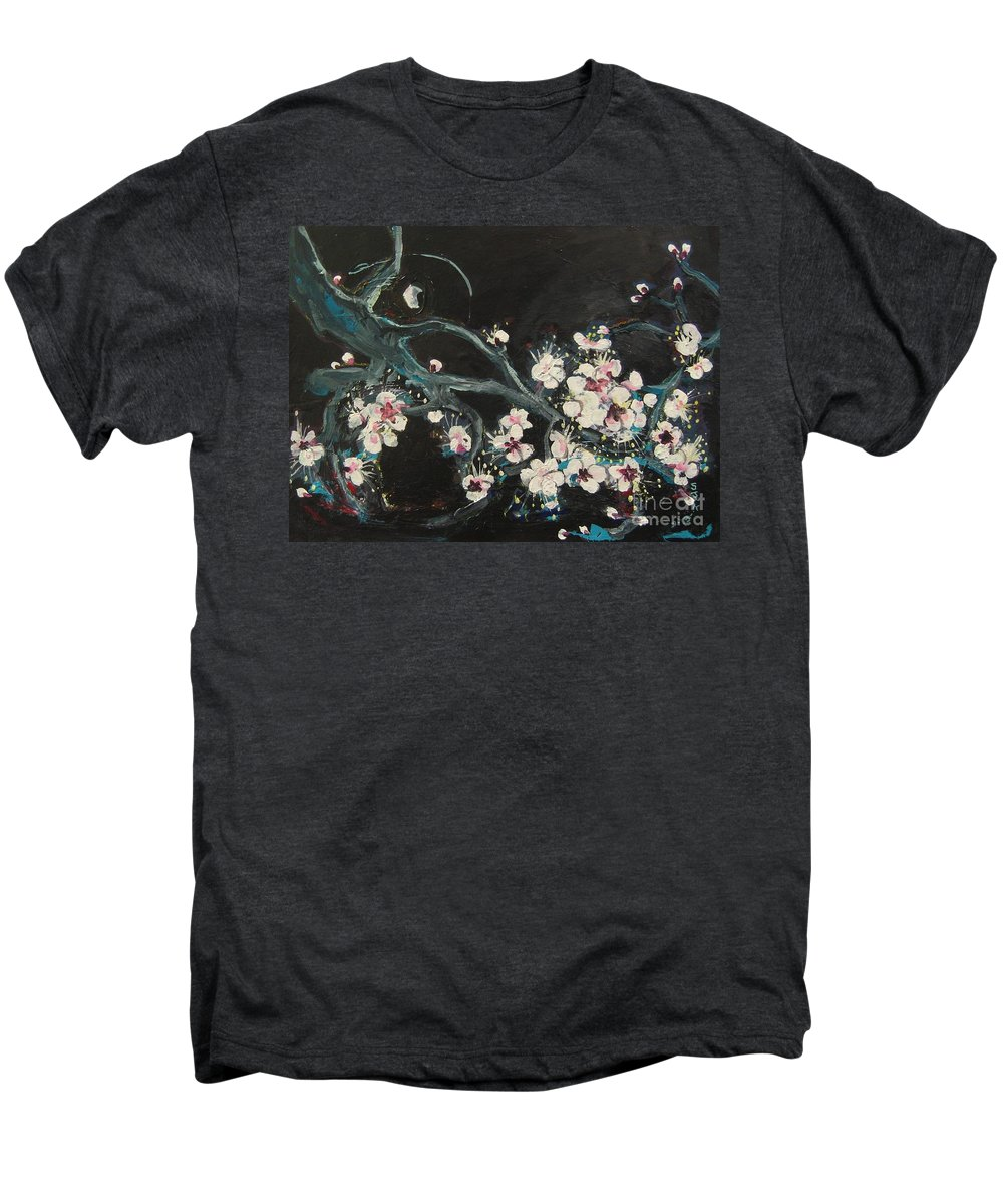 Ume Blossoms Paintings Men's Premium T-Shirt featuring the painting Ume Blossoms2 by Seon-Jeong Kim