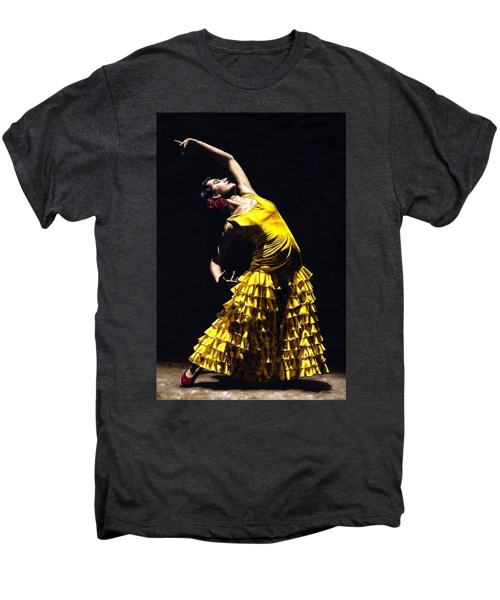 Flamenco Men's Premium T-Shirt featuring the painting Un Momento Intenso Del Flamenco by Richard Young