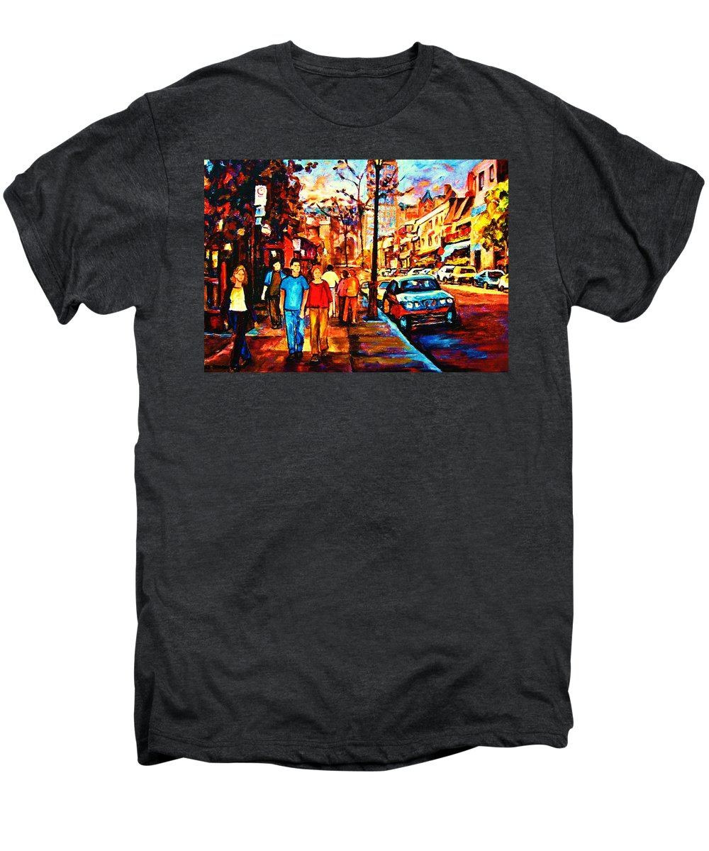 Montrealstreetscene Men's Premium T-Shirt featuring the painting Under A Crescent Moon by Carole Spandau