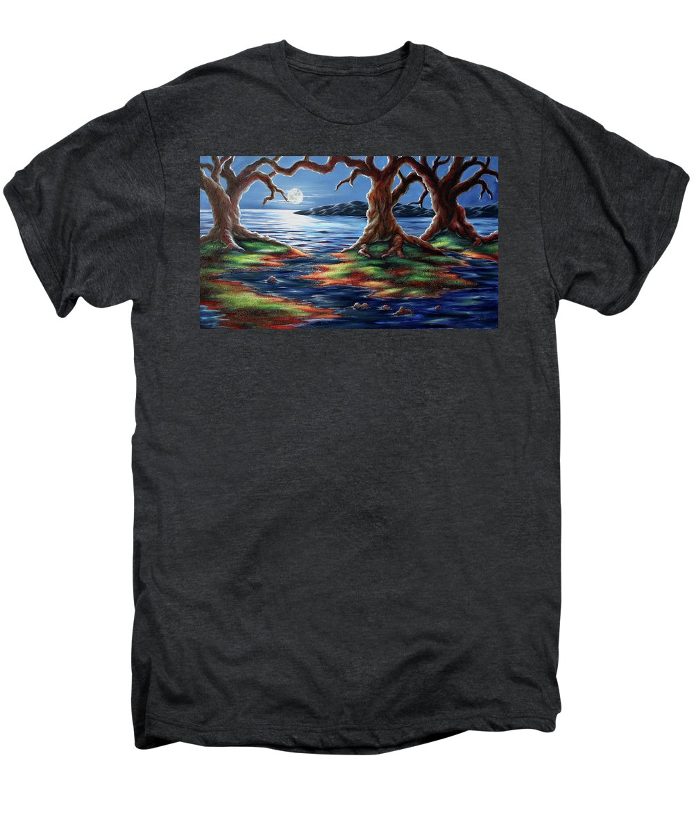 Textured Painting Men's Premium T-Shirt featuring the painting United Trees by Jennifer McDuffie