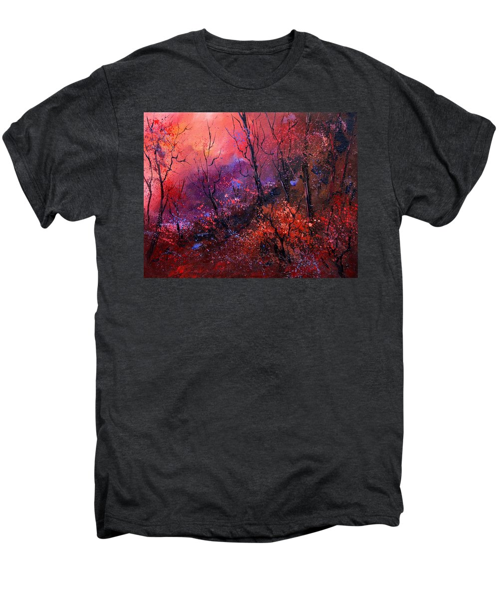 Wood Sunset Tree Men's Premium T-Shirt featuring the painting Unset In The Wood by Pol Ledent