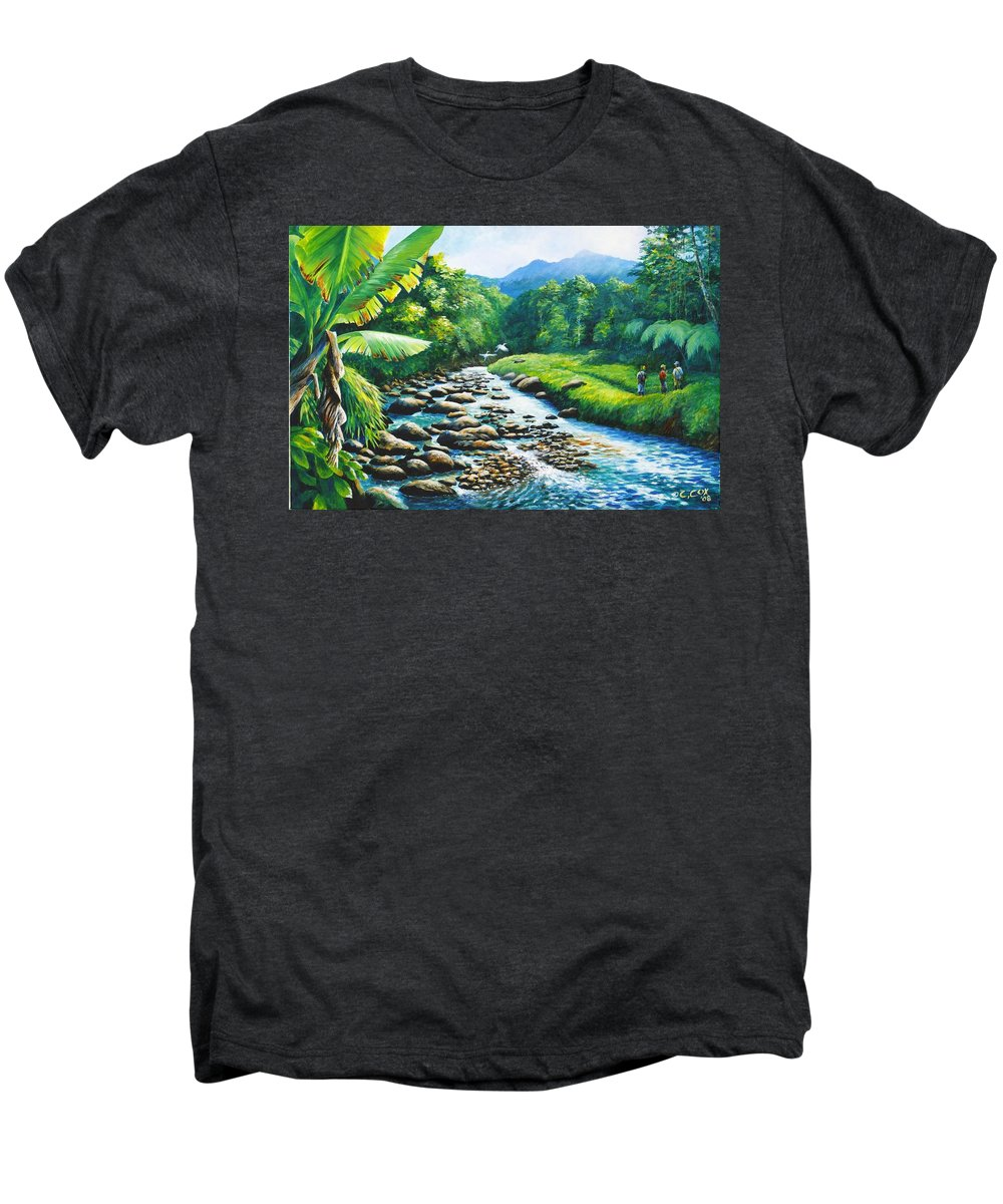 Chris Cox Men's Premium T-Shirt featuring the painting Upriver by Christopher Cox