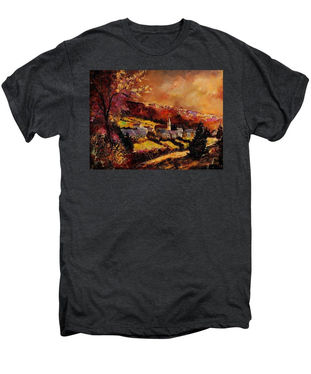 River Men's Premium T-Shirt featuring the painting Vencimont Village Ardennes by Pol Ledent