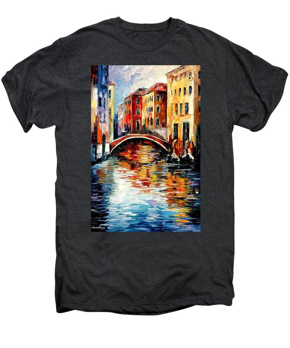 Landscape Men's Premium T-Shirt featuring the painting Venice by Leonid Afremov