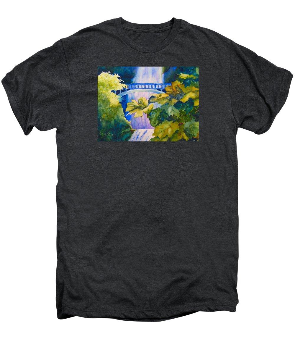 Waterfall Men's Premium T-Shirt featuring the painting View Of The Bridge by Karen Stark