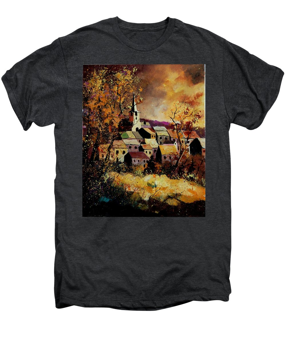 River Men's Premium T-Shirt featuring the painting Village In Fall by Pol Ledent