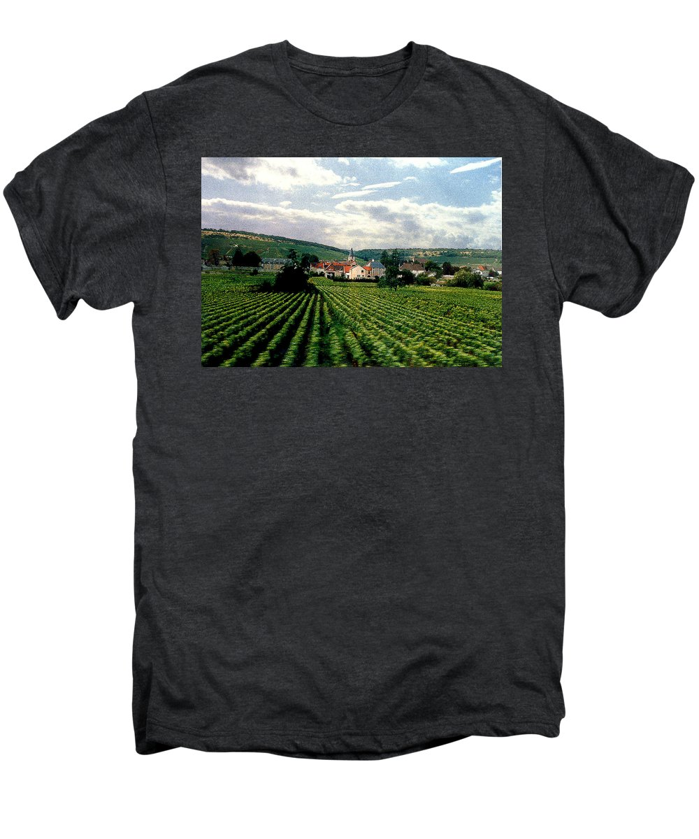Vineyards Men's Premium T-Shirt featuring the photograph Village In The Vineyards Of France by Nancy Mueller