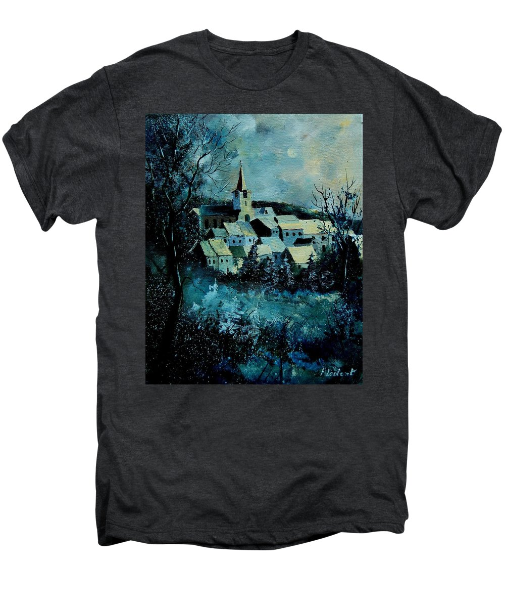River Men's Premium T-Shirt featuring the painting Village In Winter by Pol Ledent