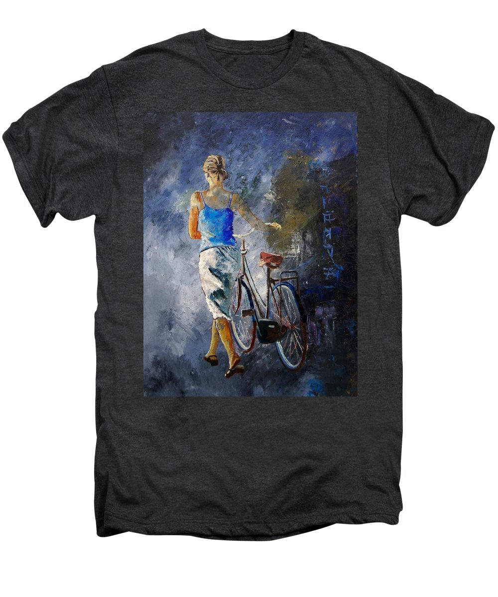 Girl Men's Premium T-Shirt featuring the painting Waking Aside Her Bike 68 by Pol Ledent