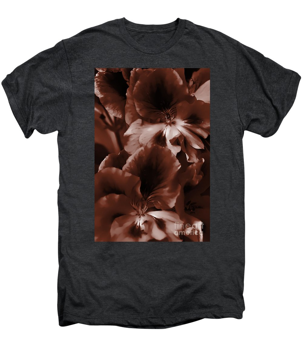 Clay Men's Premium T-Shirt featuring the photograph Warm Tone Monochrome Floral Art by Clayton Bruster