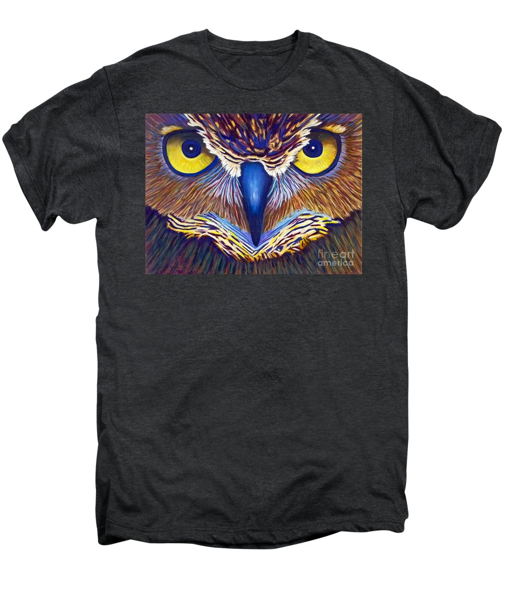 Owl Men's Premium T-Shirt featuring the painting Watching by Brian Commerford
