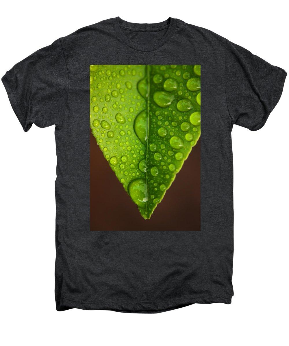 Leaf Men's Premium T-Shirt featuring the photograph Water Droplets On Lemon Leaf by Ralph A Ledergerber-Photography
