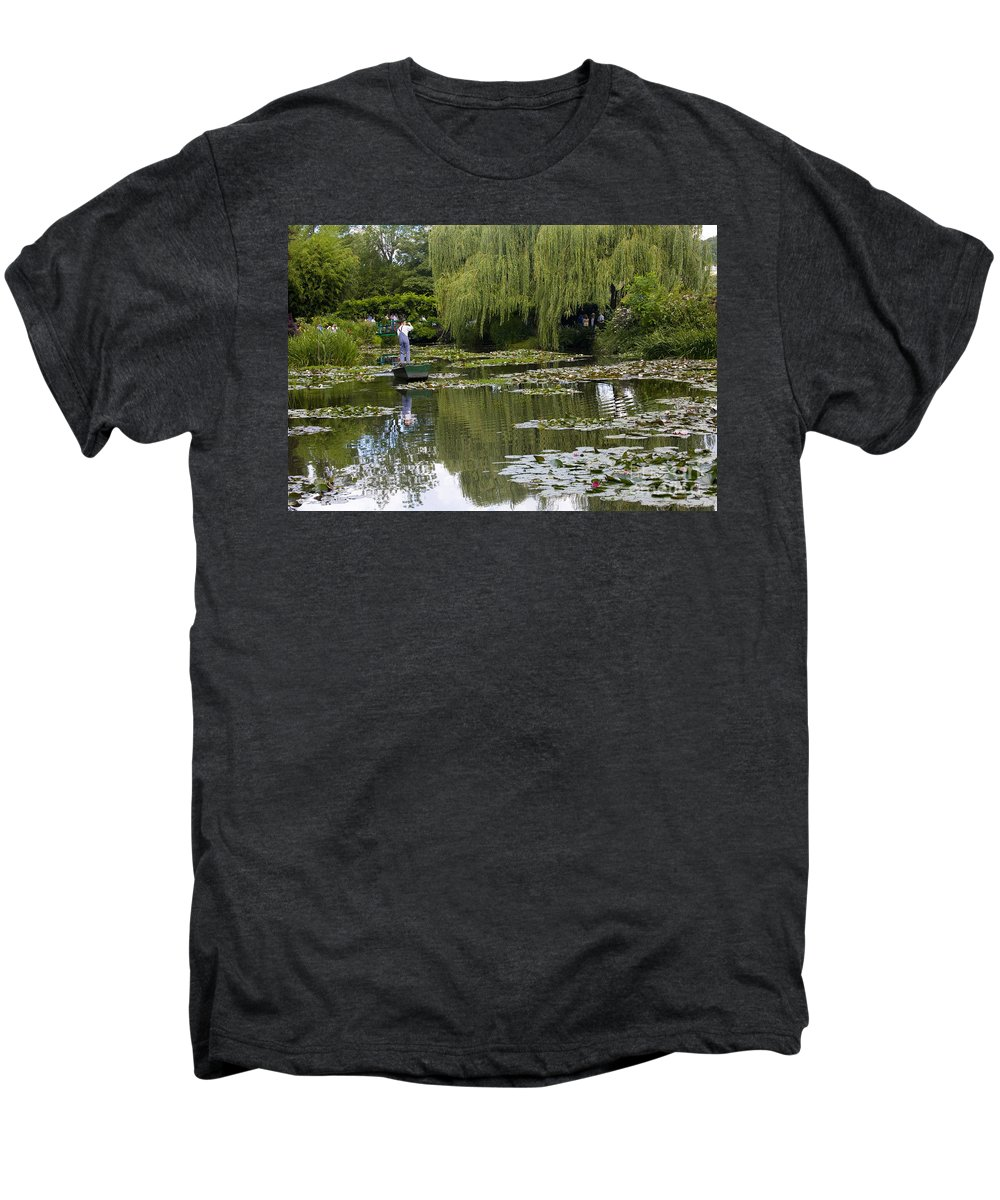 Monet Gardens Giverny France Water Lily Punt Boat Water Willows Men's Premium T-Shirt featuring the photograph Water Lily Garden Of Monet In Giverny by Sheila Smart Fine Art Photography