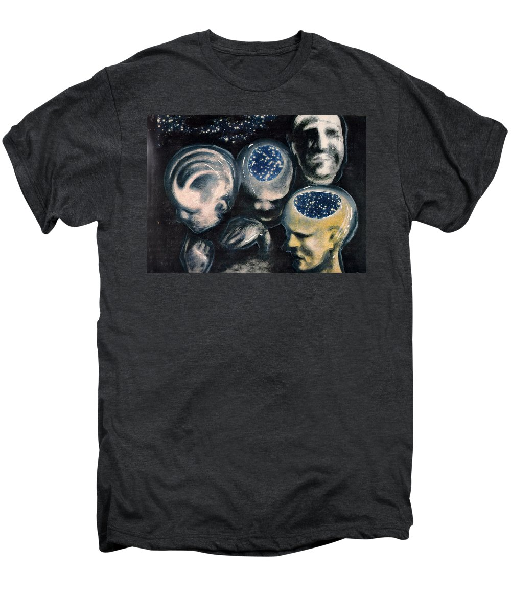 Universe Aura Thoughts Thinking Faces Mistery Men's Premium T-Shirt featuring the mixed media We Are Universe by Veronica Jackson