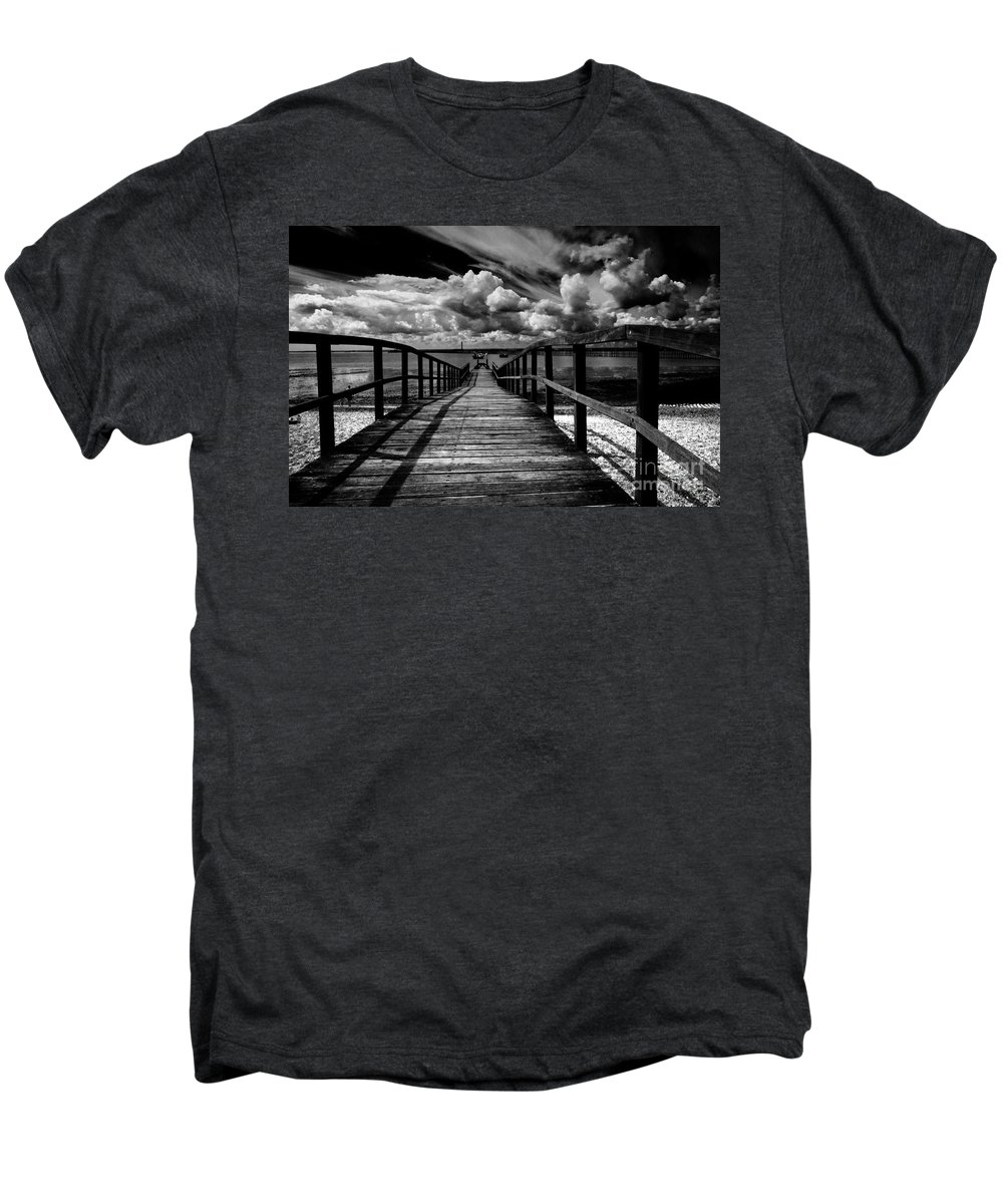 Southend On Sea Wharf Clouds Beach Sand Men's Premium T-Shirt featuring the photograph Wharf At Southend On Sea by Sheila Smart Fine Art Photography