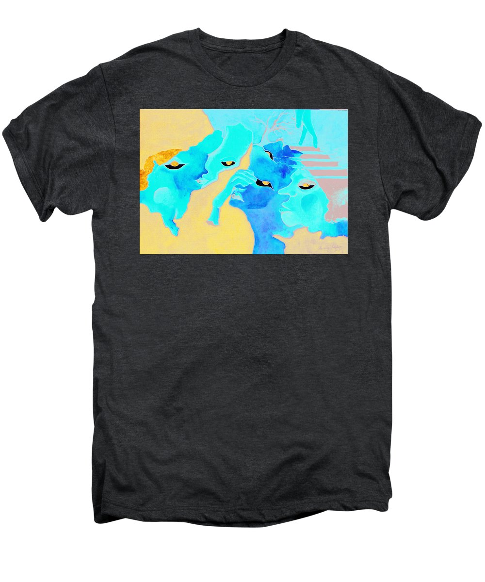 Lost Curious Red Blue People Men's Premium T-Shirt featuring the painting Where Was I by Veronica Jackson