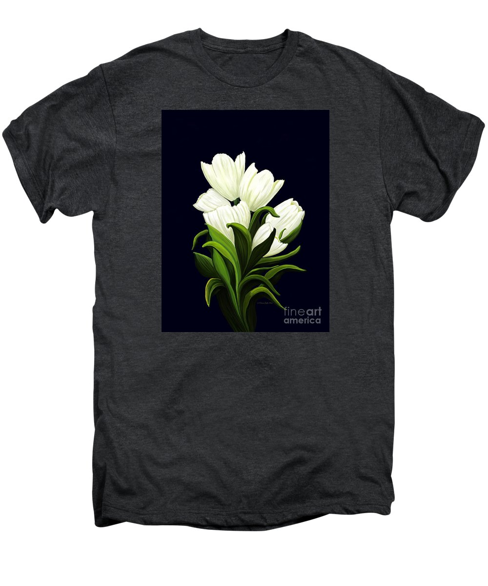 Mixed Media Men's Premium T-Shirt featuring the painting White Tulips by Patricia Griffin Brett