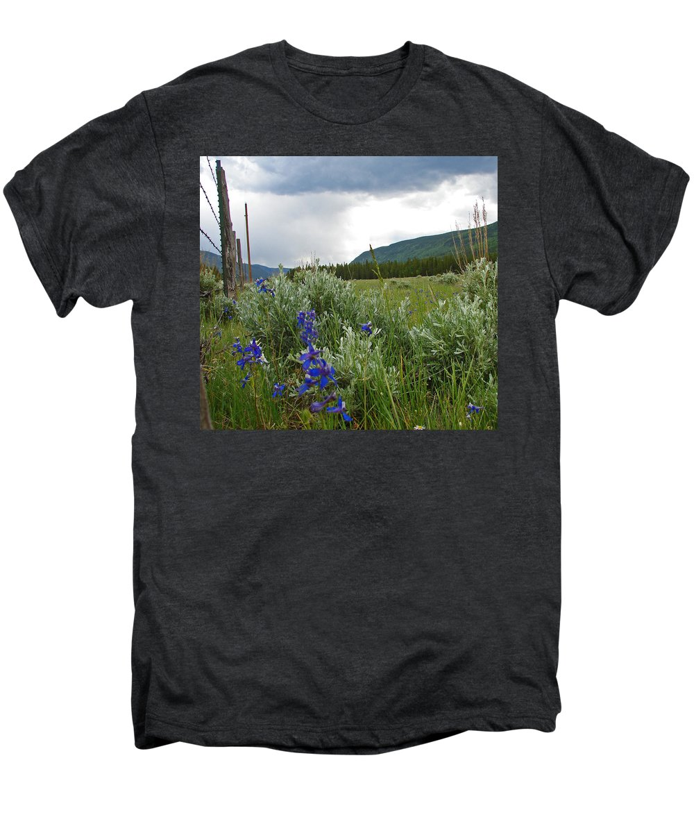Wild Flowers Men's Premium T-Shirt featuring the photograph Wild Delphinium by Heather Coen
