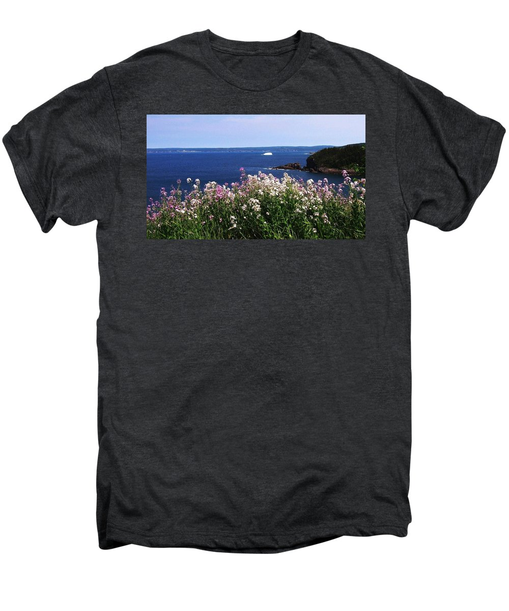 Photograph Iceberg Wild Flower Atlantic Ocean Newfoundland Men's Premium T-Shirt featuring the photograph Wild Flowers And Iceberg by Seon-Jeong Kim