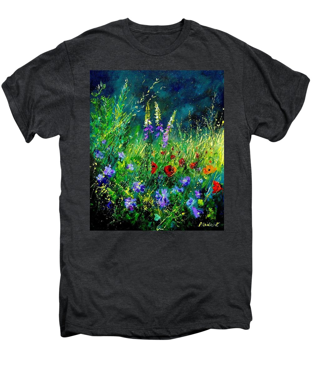 Poppies Men's Premium T-Shirt featuring the painting Wild Flowers by Pol Ledent