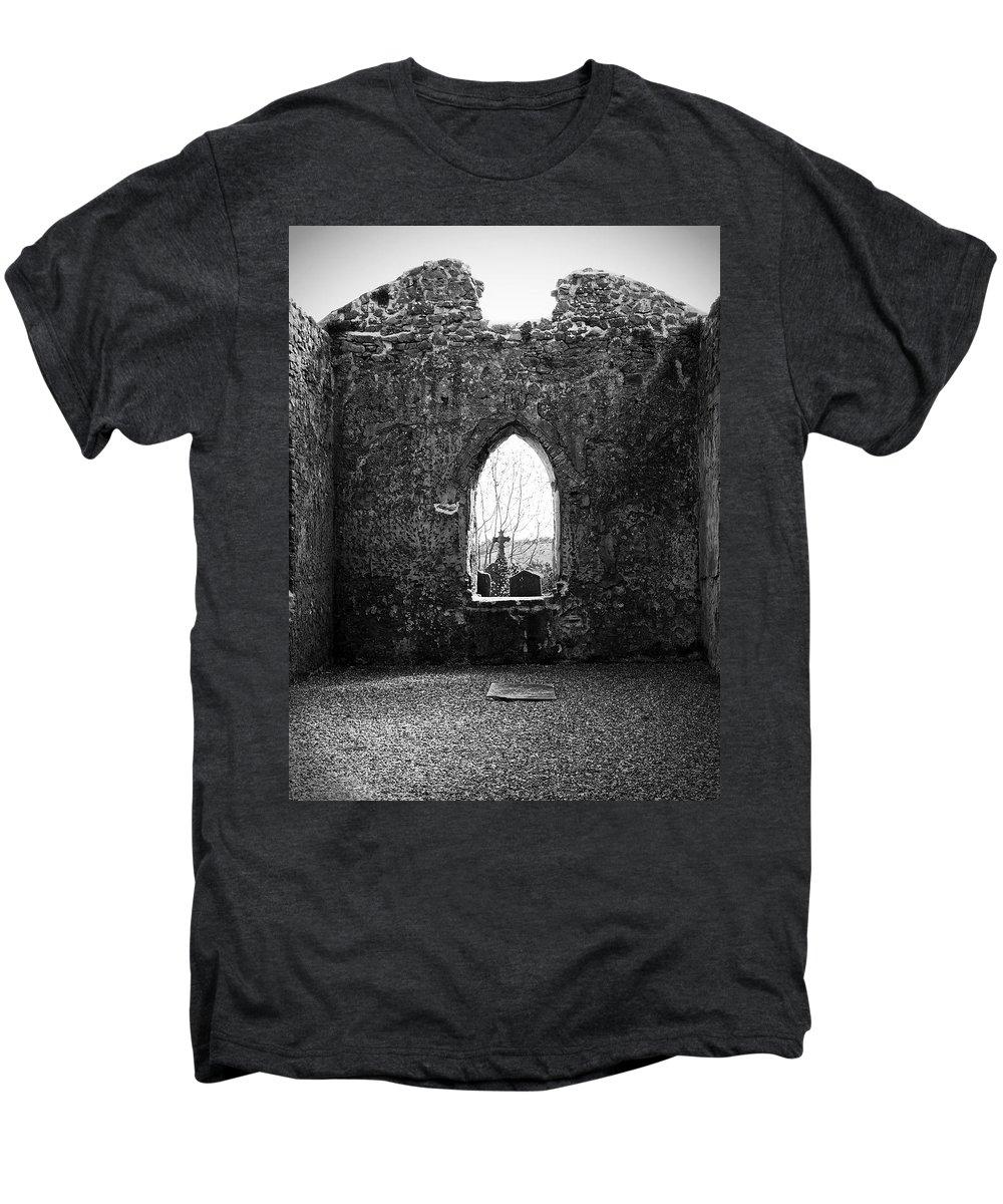 Ireland Men's Premium T-Shirt featuring the photograph Window At Fuerty Church Roscommon Ireland by Teresa Mucha