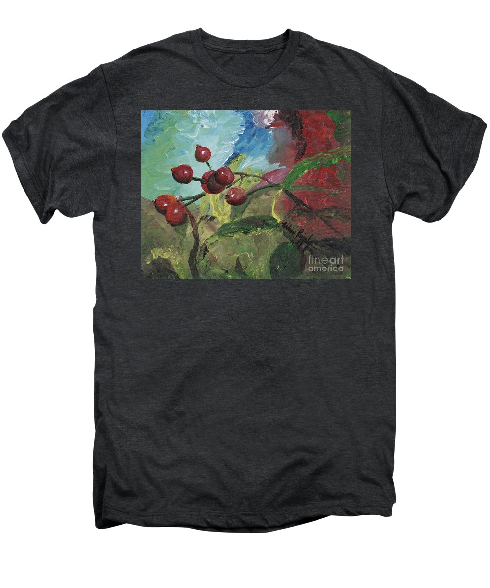 Berries Men's Premium T-Shirt featuring the painting Winter Berries by Nadine Rippelmeyer
