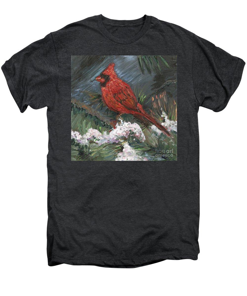 Bird Men's Premium T-Shirt featuring the painting Winter Cardinal by Nadine Rippelmeyer