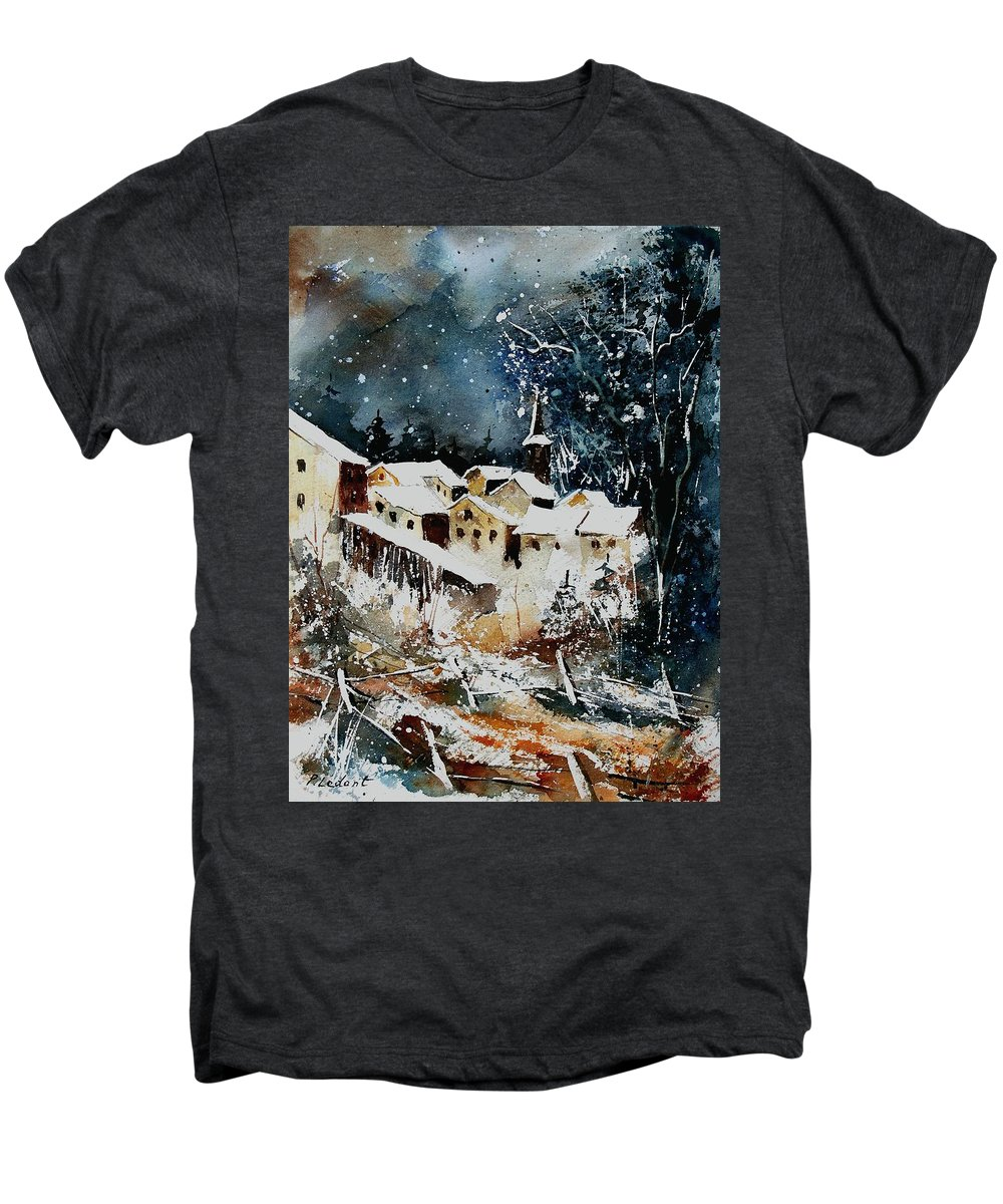 Winter Men's Premium T-Shirt featuring the painting Winter In Vivy by Pol Ledent