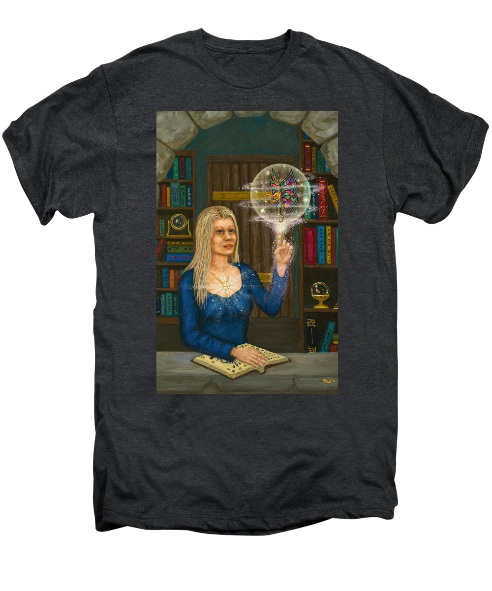Magic Men's Premium T-Shirt featuring the digital art Wizards Library by Roz Eve