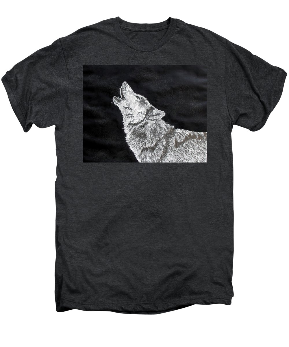 Pencil Men's Premium T-Shirt featuring the drawing Wolf Howl by Stan Hamilton