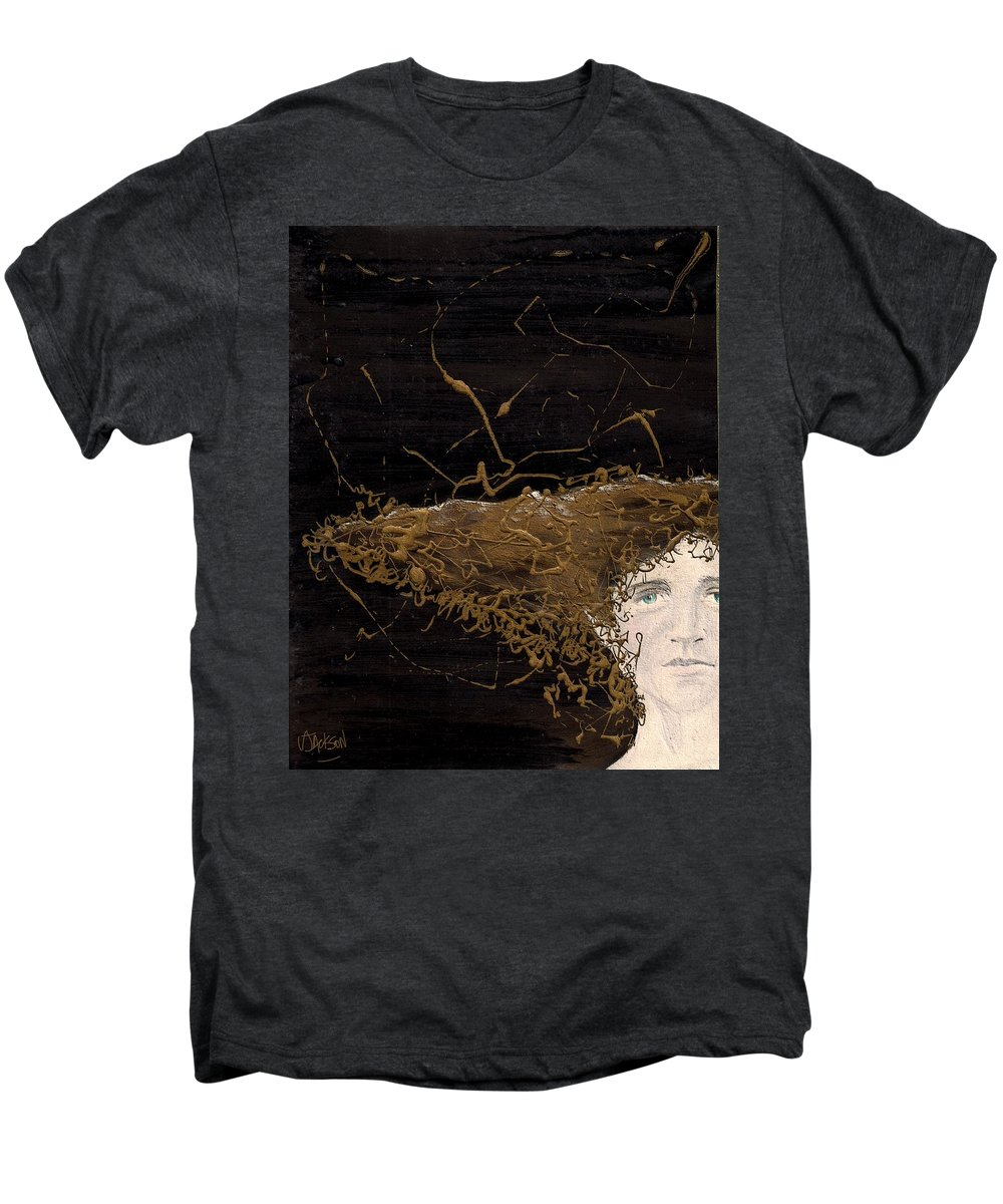 Hair Gold Woman Face Eyes Softness Men's Premium T-Shirt featuring the mixed media Woman With Beautiful Hair by Veronica Jackson