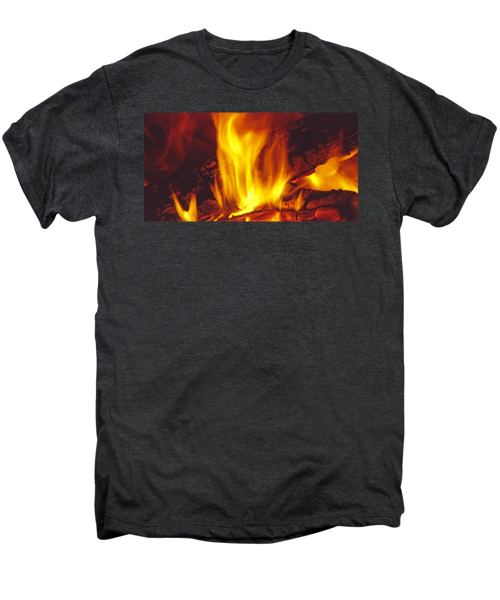 Fire Men's Premium T-Shirt featuring the photograph Wood Stove - Blazing Log Fire by Steve Ohlsen