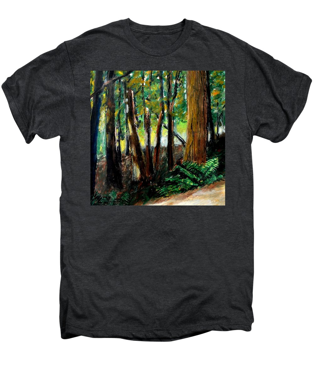 Livingston Trail Men's Premium T-Shirt featuring the drawing Woodland Trail by Michelle Calkins