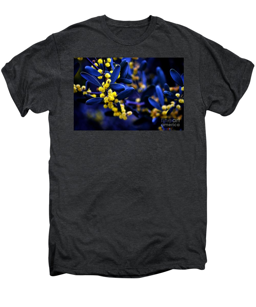 Clay Men's Premium T-Shirt featuring the photograph Yellow Bursts In Blue Field by Clayton Bruster