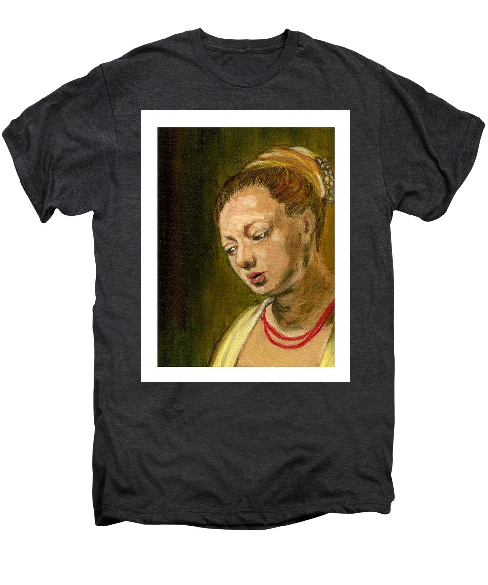 Rembrandt's Painting Men's Premium T-Shirt featuring the painting Young Woman by Asha Sudhaker Shenoy