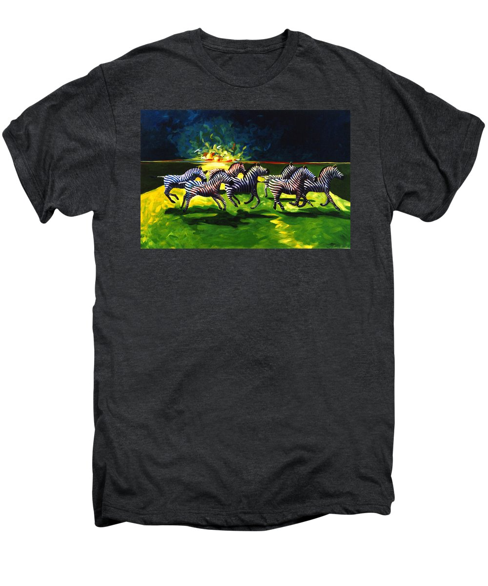 Modern Men's Premium T-Shirt featuring the painting Zebz by Lance Headlee