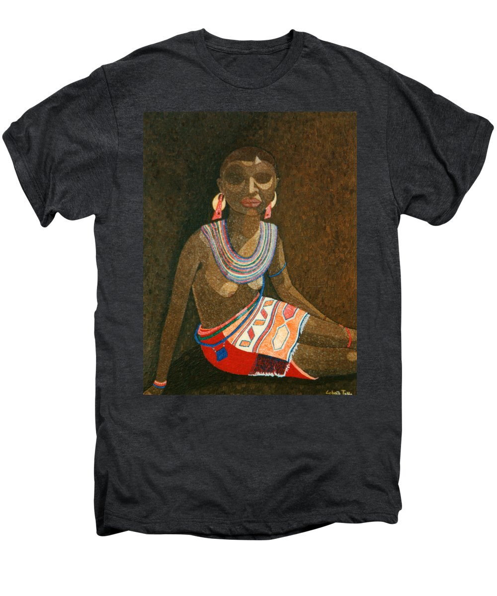 Zulu Woman Men's Premium T-Shirt featuring the painting Zulu Woman With Beads by Madalena Lobao-Tello