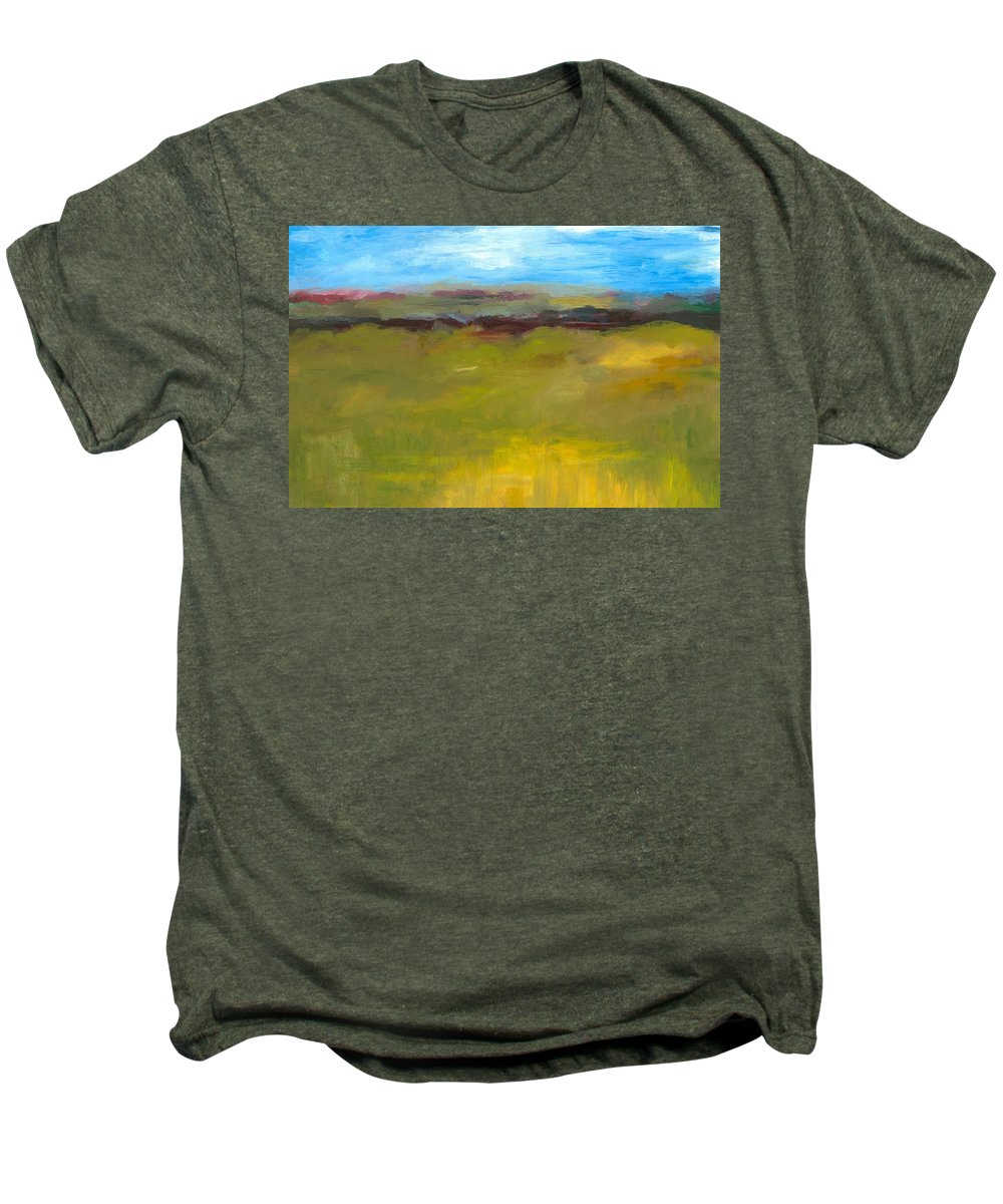 Abstract Expressionism Men's Premium T-Shirt featuring the painting Abstract Landscape - The Highway Series by Michelle Calkins
